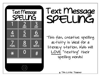 text message spelling station activity for grades k 1 2 3 literacy station. Black Bedroom Furniture Sets. Home Design Ideas