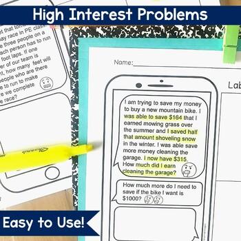 Text Message Word Problem Worksheets Bundle