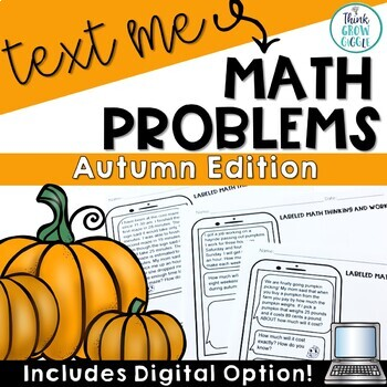 Text Message Word Problem Worksheets Autumn