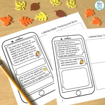 Fall Activities Text Message Word Problem Worksheets