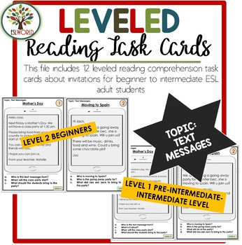 Text Messages Reading Leveled Cards ESL