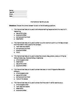 Text Organization Assessment