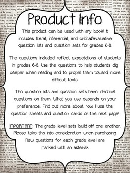 Literal and Inferential Comprehension Questions for ANY book! (Grades 6-8)