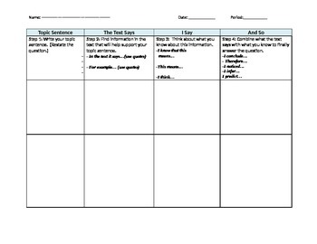 Text Says, I Say, and So - graphic organizer - Inference, Evidence, Prediction