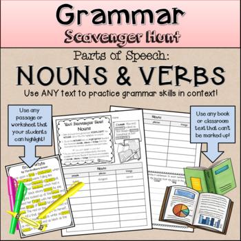 Grammar Scavenger Hunt Parts Of Speech Nouns And Verbs By