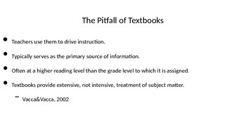 Text Sets, Textbooks in the classroom