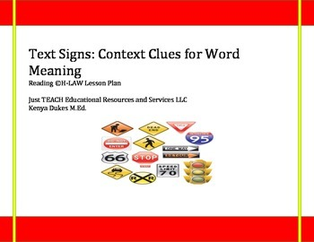 Text Signs:Context Clues for Word Meaning Lesson Plan