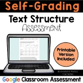 Self-Grading Text Structure Quiz: Digital & Printable