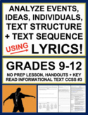 Informational Text Structures with Music Lyrics: No Prep Lesson, Handouts, Key
