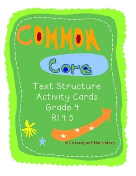 Text Structure Activity Cards Grade 4 Common Core RI.4.5