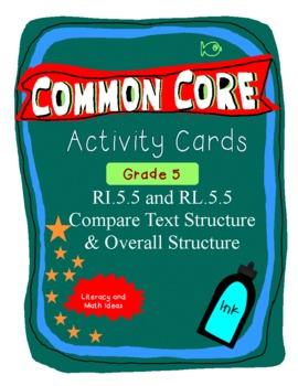 Text Structure Activity Cards Grade 5 Common Core RI.5.5 & RL.5.5