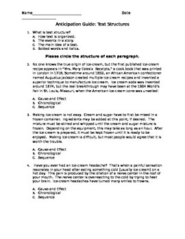 Text Structure Anticipation Guide