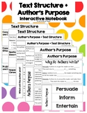 Text Structure + Author's Purpose - Interactive Notebook