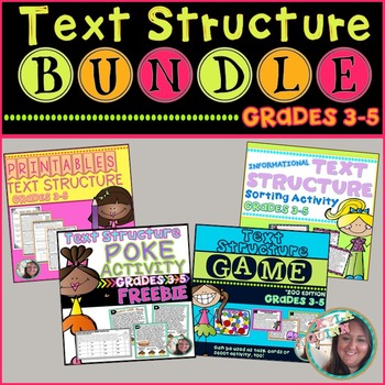 Text Structure BUNDLE: Printables, POKE Activity, Sorting Activity, and Game