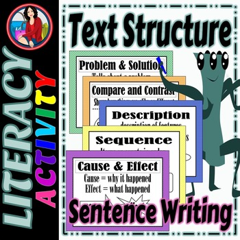 Text Structure Big Bundle, 5 Center Activities, 5 Posters, and a Foldable