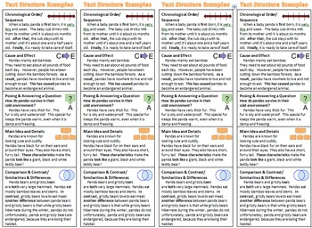 Text Structure Bookmark with Graphic Organizers, Key Words, & Example Passages
