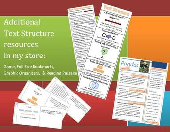 Text Structure Bookmarks with Graphic Organizers