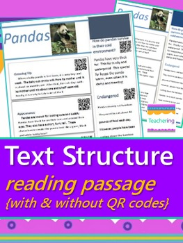 Text Structure Bundle {Task Cards, Passages, Bookmarks, Graphic Organizers}