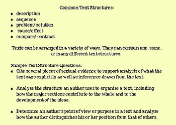 Text Structure: CCSS Aligned Note Card Reading Informational/Craft/Structure