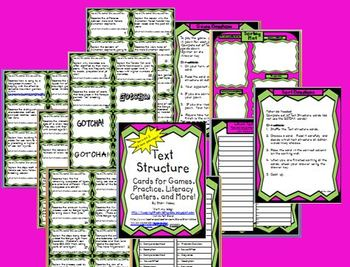 Text Structure Cards (Set 2) for Games, Practice, Literacy Centers and More