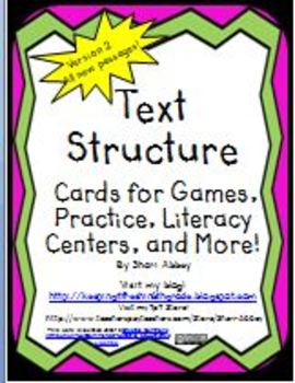 Text Structure Cards (Set 2) for Games, Practice, Literacy