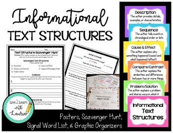 Text Structures (Posters, Scavenger Hunt, & Graphic Organizers)