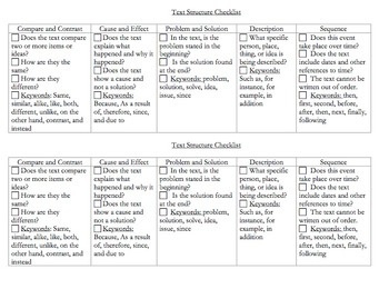 Text Structure Checklist