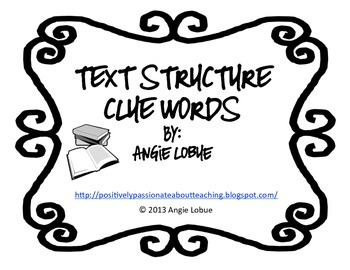 Text Structure: Clue/Signal Words Resource
