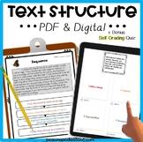 Text Structure Distance Learning DIGITAL & PRINT Google Classroom ELA Activities