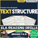 Text Structure: ELA Reading Comprehension Worksheets | GRADE 4 & 5 ♥ NONFICTION