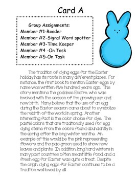 Text Structure Group Scoot Game (theme: Easter traditions)