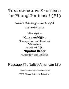 Text Structure Exercises for Young Geniuses, #1: Native American Life