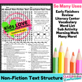 Text Structure Activity: Text Structure Word Search (non-fiction, reading)