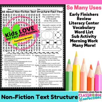 Text Structure Activity: Text Structure Word Search (non-f