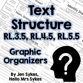 Text Structure Fiction Graphic Organizers RL.3.5 RL.4.5 RL.5.5