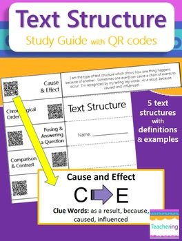 Text Structure Study Guide with QR Codes