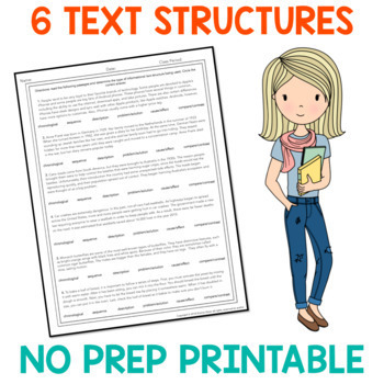 Text Structure Freebie: One Page Worksheet