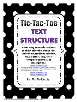 Text Structure Game Tic-Tac-Toe