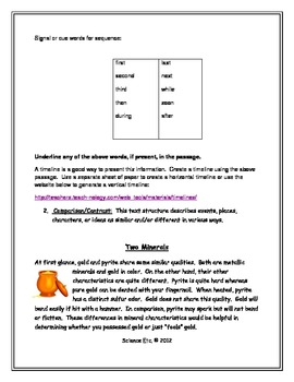 Text Structure Homework: Sequence and Comparison/ Contrast