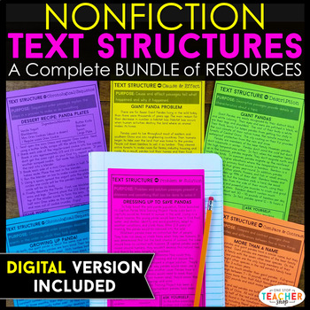 Text Structure for Nonfiction Bundle Text Structure for Nonfiction Bundle Text Structure for Nonfiction Bundle Text Structure for Nonfiction Bundle PREVIEW Subjects English Language Arts, Reading, Informational Text Grade Levels 4th, 5th, 6th, Homeschool Resource Types Activities, Assessment, Printables Common Core Standards RI.4.5, RI.5.5 Product Rating 4.0 2,420 ratings File Type Compressed Zip File  Be sure that you have an application to open this file type before downloading and/or purchasing. How to unzip files. 3.69 MB   |   27 pages  PRODUCT DESCRIPTION  This Non-Fiction Text Structure Resource Bundle is aligned with the Common Core Standards for 4th and 5th grade Language Arts.   No Prep! Just Print &Teach!!!  This resource covers the FOUR main text structures: ★ Cause and Effect ★ Problem and Solution ★ Compare and Contrast ★ Chronological Order   CCSS.ELA-LITERACY.RI.5.5 Compare and contrast the overall structure (e.g., chronology, comparison, cause/effect, problem/solution) of events, ideas, concepts, or information in two or more texts.  CCSS.ELA-LITERACY.RI.4.5 Describe the overall structure (e.g., chronology, comparison, cause/effect, problem/solution) of events, ideas, concepts, or information in a text or part of a text.  ★★★★★★★★★★★★★★★★★★★★★★★★★★★★★★★★★★★★★★★★★★★★★★★★★★★★★★  You can also get this resource in my HUGE Reading & Writing BUNDLE!! {{CLICK HERE}} SAVE $$$$ and GET MORE!  ★★★★★★★★★★★★★★★★★★★★★★★★★★★★★★★★★★★★★★★★★★★★★★★★★★★★★★   This resource includes: ✔ 8 student practice sheets - For each Text Structure you will get a two-sided worksheet which includes 2-3 Non-Fiction passages, as well as appropriate graphic organizers/activities to fill in for each passage.   ✔A mixed review activity! - This activity includes 10 short Non-fiction passages and an organizer chart for students to fill in as they read the passages. Students are asked to identify the text structure of each passage, and provide evidence for their decision.   ✔Anchor Chart - Describes each text structure and gives clue words to look for. You can recreate the anchor chart on large chart paper if needed.  ✔A 20 question test (with answer key)  The test covers all four text structures and basic comprehension skills.   ✔Answer Keys for ALL activities!!!   In my experience, I have had a tough time finding good text structure resources! This product takes care of this problem. I have used this in my own classroom and have been very successful in teaching text structure.  ⇧ ⇧ ⇧ Please see the PREVIEW for pictures of this resources! ⇧ ⇧ ⇧   ★★★Please Note...Descriptive Text Structure is NOT included in this bundle because it is not part of the 4th or 5th grade common core standards in which this resource was created for.★★★   LOOKING for MORE great RESOURCES???  CLICK HERE to see ALL of my Common Core LANGUAGE ARTS resources!  CLICK HERE to see ALL of my Common Core MATH resources!  CLICK HERE to see ALL of my HOMEWORK resources!  CLICK HERE to see ALL of my SOCIAL STUDIES resources!  CLICK HERE to see ALL of my SCIENCE resources!  CLICK HERE to see ALL of my BUNDLES, and SAVE some $$!   If you would like to get updates on NEW and CURRENT resources... FOLLOW me on Teachers Pay Teachers! FOLLOW the One Stop Teacher Shop BLOG! FOLLOW me on Pinterest! FOLLOW me on Facebook!   If you would like to contact me about pricing on a license for an ENTIRE school, county, or district, please email me at 1stopteachershop@gmail.com  This item is a paid digital download from my TpT store www.teacherspayteachers.com/Store/One-Stop-Teacher-Shop As such, it is for use in one classroom only. This item is also bound by copyright laws. Redistributing, editing, selling, or posting this item (or any part thereof) on the Internet are all strictly prohibited without first gaining permission from the author. Violations are subject to the penalties of the Digital Millennium Copyright Act. Please contact me if you wish to be granted special permissions!   Graphics A Sunny Day in First Grade Creative Clips by Krista Wallden Total Pages27Answer KeyIncludedTeaching Duration N/A Report Copyright Infringement Comments & Ratings Product Q & A AVERAGE RATINGS 4.0 Overall Quality:4.0 Accuracy:4.0 Practicality: 4.0 Thoroughness:4.0 Creativity:4.0 Clarity: 4.0 Total: 2420 ratings COMMENTS AND RATINGS: Janell Tebbe 4.0 Total:4.0 Overall Quality:4.0 Accuracy:4.0 Practicality:4.0 Thoroughness:4.0 Creativity:4.0 Clarity: On  August 6, 2015,  Janell T. said: This is excellent! I like how it scaffolds students learning and covers topics that are relevant to 4/5th grade students! Thank you. Teachers Pay Teachers3 Marked as helpful  One Stop Teacher Shop On  August 6, 2015,  One Stop Teacher Shop answered: Thank you so much for your feedback, Janell!! Teachers Pay Teachers  Caryce Gilmore 4.0 Total:4.0 Overall Quality:4.0 Accuracy:4.0 Practicality:4.0 Thoroughness:4.0 Creativity:4.0 Clarity: On  September 26, 2015,  Caryce Gilmore (TpT Seller) said: Used these for providing examples of text features on our anchor chart. Great for class discussion and referencing examples of each Teachers Pay Teachers2 Marked as helpful  One Stop Teacher Shop On  September 26, 2015,  One Stop Teacher Shop answered: Thank you so much for your nice comments, Caryce! :-) Teachers Pay Teachers  Laura Gossman 4.0 Total:4.0 Overall Quality:4.0 Accuracy:4.0 Practicality:4.0 Thoroughness:4.0 Creativity:4.0 Clarity: On  September 29, 2015,  Laura Gossman (TpT Seller) said: Love this! Thank you! It provides effective passages and was a huge time saver for me! Teachers Pay Teachers1 Marked as helpful  One Stop Teacher Shop On  September 29, 2015,  One Stop Teacher Shop answered: Thank you, Laura! I really appreciate your nice comments! Teachers Pay Teachers Alicia Webb 4.0 Total:4.0 Overall Quality:4.0 Accuracy:4.0 Practicality:4.0 Thoroughness:4.0 Creativity:4.0 Clarity: On  September 23, 2015,  Alicia W. said: I love this product! It goes perfectly with my informational text unit on text structure. Thank you for providing me with this much needed, CCSS-aligned product! Teachers Pay Teachers1 Marked as helpful  One Stop Teacher Shop On  September 23, 2015,  One Stop Teacher Shop answered: Thank you so much for your nice comments, Alicia! Teachers Pay Teachers Brandon Horton 4.0 Total:4.0 Overall Quality:4.0 Accuracy:4.0 Practicality:4.0 Thoroughness:4.0 Creativity:4.0 Clarity: On  September 20, 2015,  Brandon H. said: This is such a hard skill for my students, and it is hard to find good resources for it. This product was a big help! Teachers Pay Teachers1 Marked as helpful  One Stop Teacher Shop On  September 20, 2015,  One Stop Teacher Shop answered: Thank you Brandon. I appreciate your feedback! Teachers Pay Teachers Patricia Patchin 4.0 Total:4.0 Overall Quality:4.0 Accuracy:4.0 Practicality:4.0 Thoroughness:4.0 Creativity:4.0 Clarity: On  September 16, 2015,  Patricia P. said: These go wonderfully with our interactive notebook we use. It reinforces the ideas they students are learning. Teachers Pay Teachers1 Marked as helpful  One Stop Teacher Shop On  September 16, 2015,  One Stop Teacher Shop answered: Thank you so much, Patricia. That's really great to hear! Teachers Pay Teachers  Teaching with Freckles 4.0 Total:4.0 Overall Quality:4.0 Accuracy:4.0 Practicality:4.0 Thoroughness:4.0 Creativity:4.0 Clarity: On  August 30, 2015,  Teaching with Freckles (TpT Seller) said: Great samples for teaching text structures. We started off doing these whole group, but then the students finished them in partner groups. They were a great anchor activity during an often difficult to grasp concept. Teachers Pay Teachers1 Marked as helpful  One Stop Teacher Shop On  August 30, 2015,  One Stop Teacher Shop answered: That's so gratifying to hear! Thank you so much for your wonderful feedback! Teachers Pay Teachers Amanda  Marietta 4.0 Total:4.0 Overall Quality:4.0 Accuracy:4.0 Practicality:4.0 Thoroughness:4.0 Creativity:4.0 Clarity: On  August 19, 2015,  Amanda M. said: Despite being a new reading teacher this year, I have a feeling this will do a great job in my room really hitting the nonfiction pieces in our standards! Thank you for all your hard work you put into this product ! Teachers Pay Teachers1 Marked as helpful  One Stop Teacher Shop On  August 19, 2015,  One Stop Teacher Shop answered: Congratulations on your first year of teaching, Amanda. Thank you so much for your feedback! I hope you have a great school year! Teachers Pay Teachers jennifer allison 4.0 Total:4.0 Overall Quality:4.0 Accuracy:4.0 Practicality:4.0 Thoroughness:4.0 Creativity:4.0 Clarity: On  August 17, 2015,  Jennifer A. said: These really helped me teach and assess my students on their knowledge of text structure! Teachers Pay Teachers1 Marked as helpful  One Stop Teacher Shop On  August 17, 2015,  One Stop Teacher Shop answered: Thank you for your feedback, Jennifer! Teachers Pay Teachers  Heather Somers 4.0 Total:4.0 Overall Quality:4.0 Accuracy:4.0 Practicality:4.0 Thoroughness:4.0 Creativity:4.0 Clarity: On  August 15, 2015,  Heather Somers (TpT Seller) said: So perfect to use during a lesson to get that gradual release! Thank you for you this! Teachers Pay Teachers1 Marked as helpful More