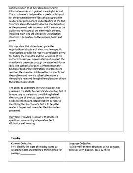 Text-Structure Lesson Plans (Skeleton)
