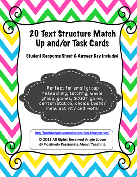 Text Structure Task Cards & Matching Activity