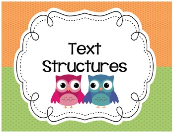 Text Structure OWL Posters, Main Idea, Sequence, Compare, Cause & more