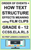 Text Structure & Order of Events with FILM:NO PREP Lesson & Activities:CCSS.RL.5