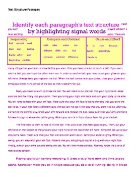 Text Structure Passages