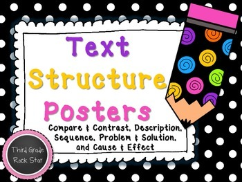 Text Structure Posters ~ Black & White Polka Dots