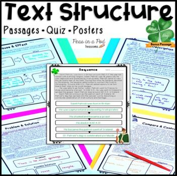 Text Structure Posters | Text Structure Foldable | Text Structure Worksheets