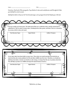 Text Structure Practice Passages and Text Cards