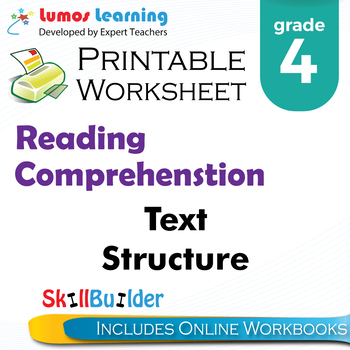 Text Structure Printable Worksheet, Grade 4