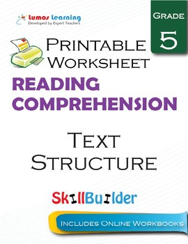 Text Structure Printable Worksheet, Grade 5